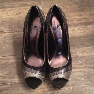 Sparkly open toe heels